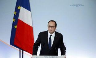 François Hollande, le 18 janvier 2016 à Paris, lors de son discours pour présenter son plan d'urgence contre le chômage