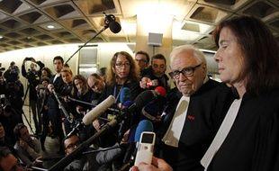 Interview d'Henri Leclerc et de Frédérique Baulieu, deux des avocats de Dominique Strauss-Kahn, à l'issue des plaidoiries, mercredi 18 février 2015 .(AP Photo/Michel Spingler)/SPIN105/190265147683/1502181255