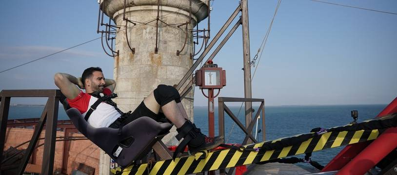 Adil Rami a affronté l'épreuve de la catapulte infernale cette année dans «Fort Boyard»