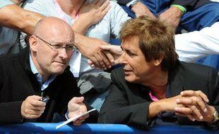 Bernard Laporte à côté de Max Guazzini, le 12 septembre 2009 à Paris.