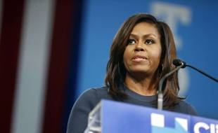 Michelle Obama lors d'un meeting de soutien à Hillary Clinton dans le New Hampshire, le 13 octobre 2016.