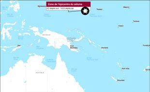 Carte de localisation du séisme qui s'est produit le samedi 17 décembre 2016, au large de la Papouasie-Nouvelle-Guinée.