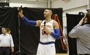 Enes Kanter lors de la présentation de l'effectif des Knicks en début de saison.