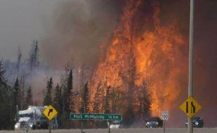 La forêt en feu à 16 km de Fort McMurray au Canada, le 6 mai 2016.