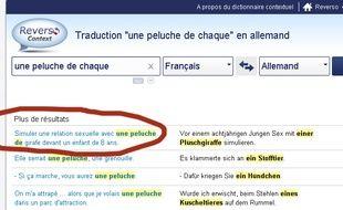 """Capture d'écran site Reverso http://context.reverso.net/traduction/francais-allemand/une+peluche+de+chaque""""."""