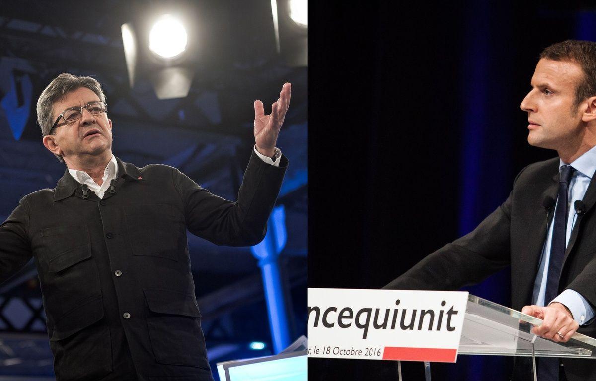 Jean-Luc Mélenchon à Saint-André-lez-Lille le 16 octobre 2016 et Emmanuel Macron à Montpellier le 18 octobre. – NICOLAS MESSYASZ/XAVIER MALAFOSSE/SIPA