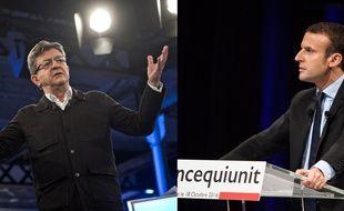 Jean-Luc Mélenchon à Saint-André-lez-Lille le 16 octobre 2016 et Emmanuel Macron à Montpellier le 18 octobre.