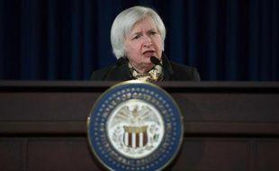 Janet Yellen pendant une conférence de presse le 18 mars 2015 au siège de la Fed à Washington