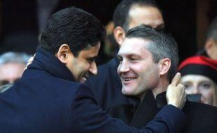 Olivier Létang, ici avec Nasser Al-Khelaïfi lors du récent Stade Rennais-PSG, veut un avant-centre au mercato.