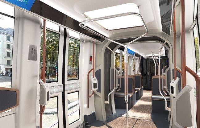 Image de synthèse de l'intérieur de la future rame de tramway nantais.