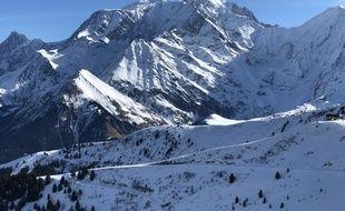 Illustration de stations de skis au pied du massif du Mont-Blanc. Ici, celle de Saint-Gervais.