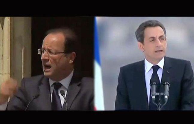 Montage photo: François Hollande et Nicolas Sarkozy le 1er mai 2012.