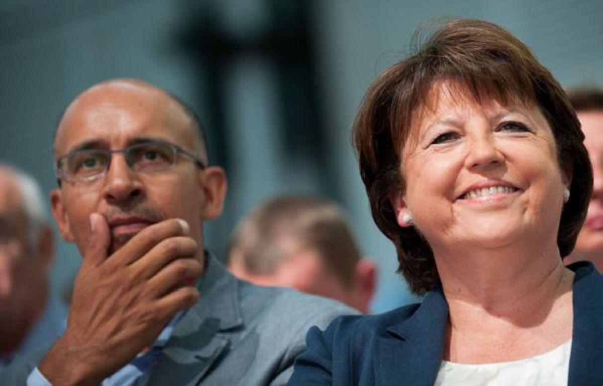 Harlem Désir et Martine Aubry à l'université d'été de La Rochelle, le 26 août 2012. – DUPUY/NOSSANT/SIPA