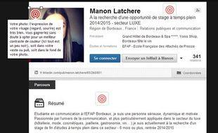 Extrait du profil LinkedIn de Manon, internaute de «20 Minutes»