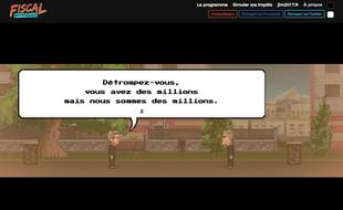 """Capture d'écran du jeu vidéo lancé le 7 avril par l'équipe de Jean-Luc Mélenchon intitulé """"Fiscal Kombat"""""""