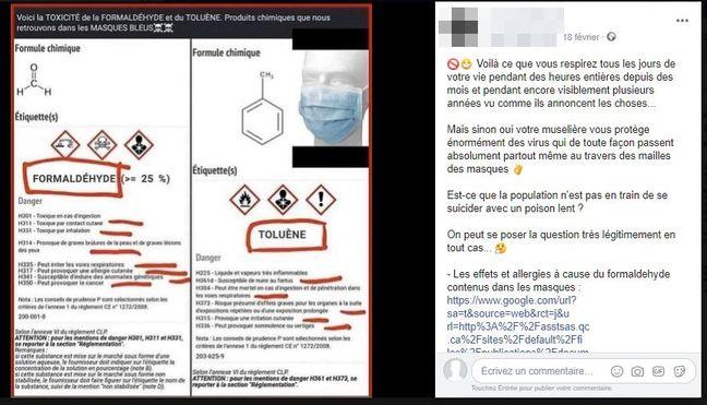 Publication Facebook sur la prétendue toxicité des masques
