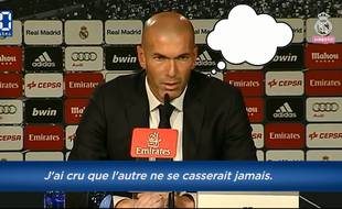 Capture d'écran des pensées de Zidane pendant sa conférence de presse