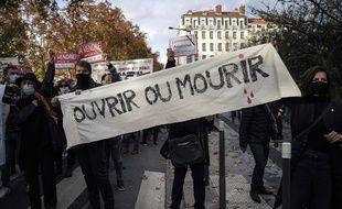 Manifestation de commerçants à Lyon le 16 novembre 2020 (illustration).