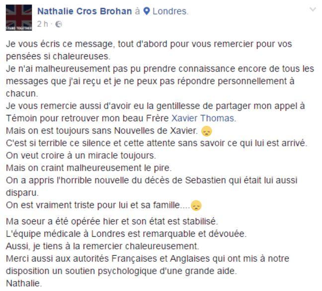 Le nouveau message de Nathalie Cros Brohan.