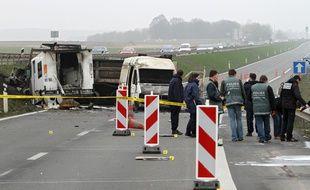 La scène du braquage sur la RN17 le 17 mars 2011