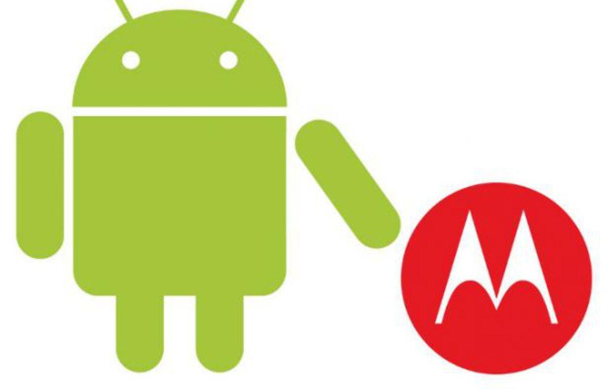 Les logos du système Android de Google et de Motorola. – PHOTOMONTAGE/20MINUTES