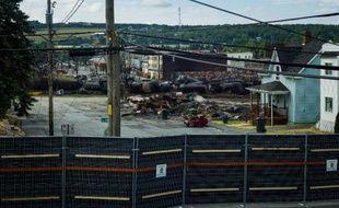 La zone de l'accident meurtrier de train à Lac-Mégantic au Québec, le 14 juillet 2013