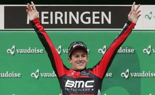 Le coureur de l'équipe BMC Mathias Frank, lors de sa victoire au Tour de Suisse, le 10 juin 2013.