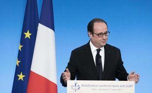 François Hollande lors de son discours à l'Elysée contre la haine anti-LGBT, le 17 mars 2017.