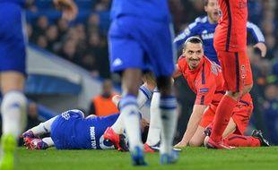 Zlatan Ibrahimovic s'est fait expulser dès la 31e minute lors de Chelsea-PSG (2-2 ap) le 11 mars 2015.
