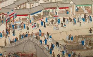 Détail du fragment du rouleau n°6 «voyage d'inspection dans le Sud de l'Empereur Kangxi» par Wang Hui