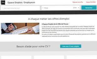 Capture d'écran du site emploi de la mairie de Pessac.