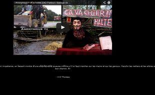 Les Anonymous, en soutien aux opposants à la construction du barrage de Sivens, ont piraté certains sites du Tarn.