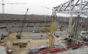 Lyon, le 29 janvier 2015 Visite du chantier du Grand Stade de l'OL qui avance à grand pas. La fin des travaux est annoncée pour le 29 janvier 2016.