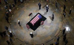 Cérémonie d'hommage à George H.W. Bush, au Capitole de Washington, le 3 décembre 2018.
