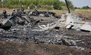 Site du crash du vol MH17 en Ukraine, le 26 juillet 2014.