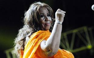 La chanteuse Aretha Franklin, 70 ans, donne un concert à la Nouvelle-Orléans, le 8 juillet 2012.