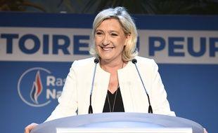 Marine Le Pen au soir de la victoire du Rassemblement national arrivé en tête des Européennes, le 26 mai 2019.