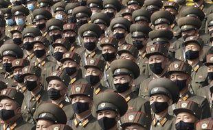 Des soldats de Corée du Nord, à Pyongyang le 12 octobre 2020.