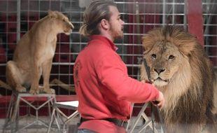 Illustration de lions dans un cirque.