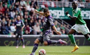 L'attaquant du TFC Wissam Ben Yedder a marqué le seul but du match entre Saint-Etienne et Toulouse, le 5 octobre 2014 en Ligue 1.
