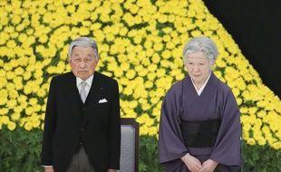 L'empereur du Japon Hirohito et l'impératrice Michiko lors de la cérémonie commémorant la fin de la Seconde guerre mondiale, à Tokyo le 15 août 2018.