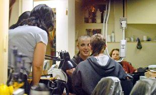 La chanteuse Britney Spears lorsqu'elle s'est rasé le crâne en 2007