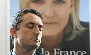 Marseille le 15 mai 2012 - Stéphane Ravier , du Front national, brigue la mairie de Marseille aux municipales 2014.