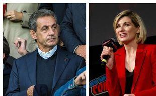 Collage SIPA/Fotor/20 Minutes de l'ancien président Nicolas Sarkozy et de l'actrice britannique Jodie Whittaker