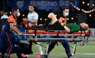 L'arbitre Trual Trainini a été victime d'une entorse lors du match du Top 14 entre le Racing 92 et La Rochelle, à Nanterre le 11 septembre 2021.
