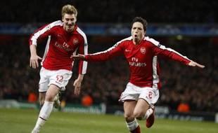 Samir Nasri (à droite) et Nicklas Bendtner,le 9 mars 2010 à Londres.