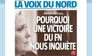 La une du quotidien régional «La Voix du Nord» le 30 novembre 2015.