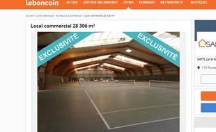 L'annonce de vente du complexe sportif d'Alcatel est consultable sur le site Le Bon coin.