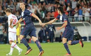 Zlatan Ibrahimovic et Edinson Cavani, le 18 août 2013 au Parc des Princes.