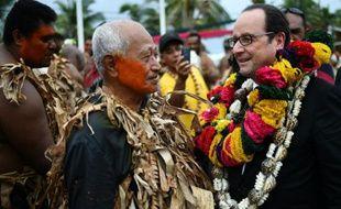 François Hollande lors d'une cérémonie de bienvenue le 22 février 2016 à Futuna